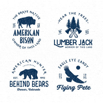 Set of wilderness logo emblems silhouettes and design elements