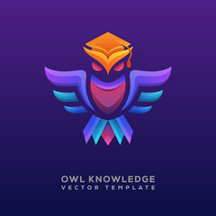 colorful Owl knowledge logo illustration Premium Vector