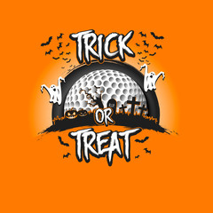 Halloween pattern. Trick or treat and golf ball