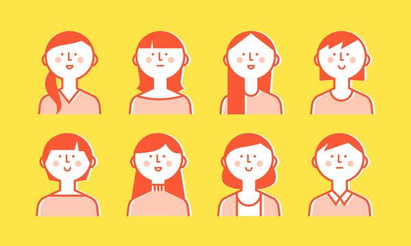 笑顔の女性 イラスト