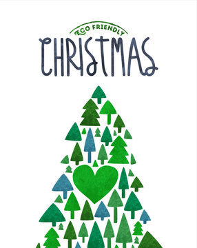 Merry Christmas eco card of green watercolor tree