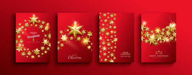 Wall Mural - Christmas and new year gold 3d stars template