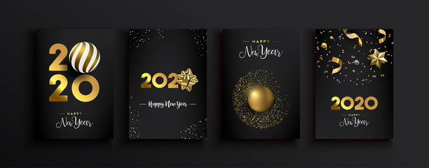 Wall Mural - Happy New Year 2020 gold 3d elegant card set