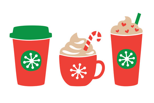 Vector illustration of Christmas holiday drink including hot and iced coffee. Peppermint chocolate drink.