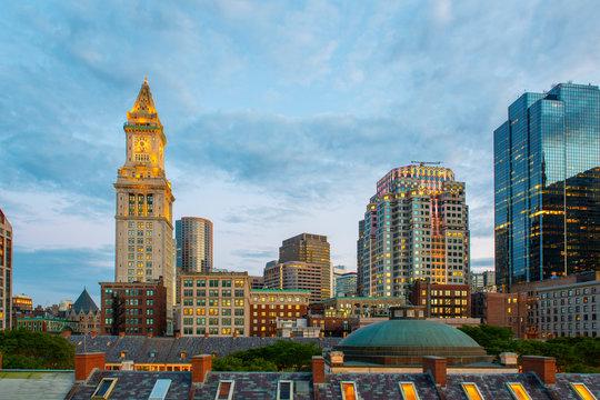 Boston Custom House and Financial District skyline at night, Boston, Massachusetts, USA.