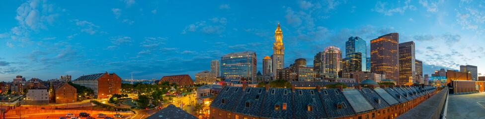 Boston Custom House and Financial District skyline panorama at night, Boston, Massachusetts, USA.