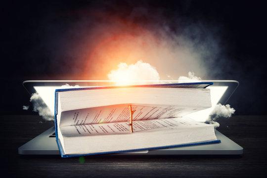 Big open book. Mixed media