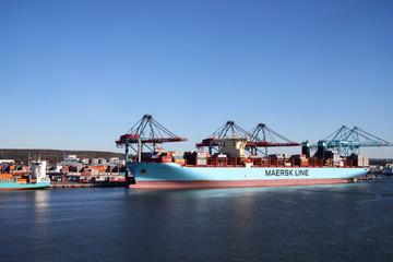 Container ship in Gothenburg