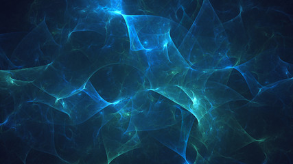 Poster Fractal waves 3D rendering abstract blue fractal light background