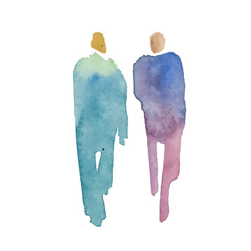Color spot with watercolors in the form of a group of people. Vector watercolor hand painted silhouette of man and woman