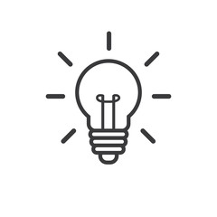 Light bulb outline icon, vector image.