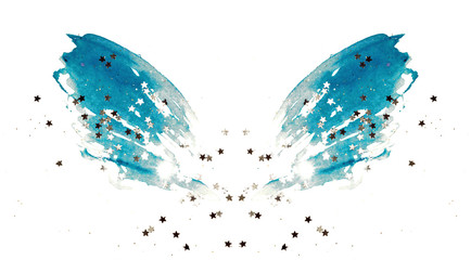 Photo sur Aluminium Papillons dans Grunge Silver glittering stars on abstract blue watercolor wings on white background