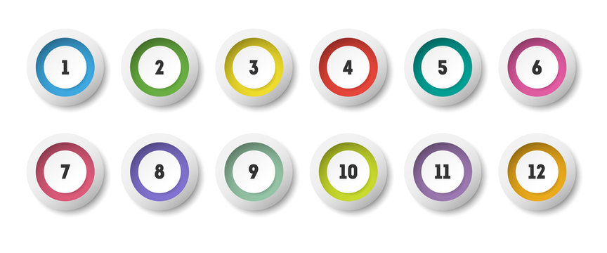 Circle 3d icon set with number bullet point from 1 to 12.