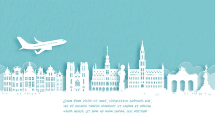 Fototapete - Travel poster with Welcome to Belgium famous landmark in paper cut style vector illustration.