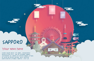 Fototapete - Travel poster of world famous landmarks of Sapporo, Japan in paper cut style vector illustration
