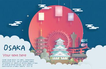Fototapete - Travel poster of world famous landmarks of Osaka, Japan in paper cut style vector illustration