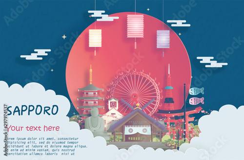 Fototapete Travel poster of world famous landmarks of Sapporo, Japan in paper cut style vector illustration
