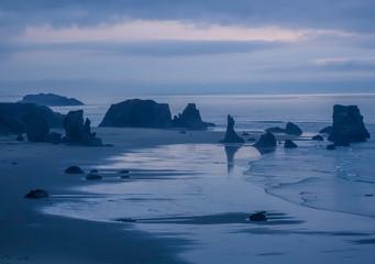 Nightfall on the lonely beach