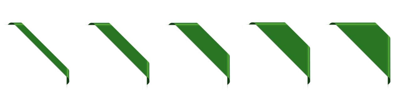set of green corner ribbon banners