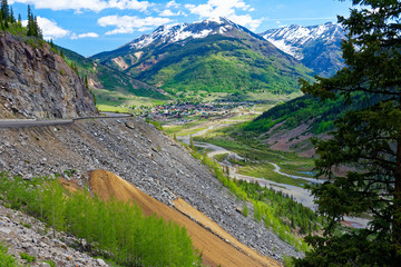 Overlooking the town of Silverton, Colorado, from the San Juan Skyway