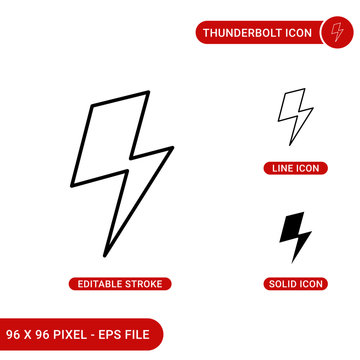 Thunderbolt icons set vector illustration with solid icon line style. David bowie bolt concept. Editable stroke icon on isolated background for web design, infographic and UI mobile app.