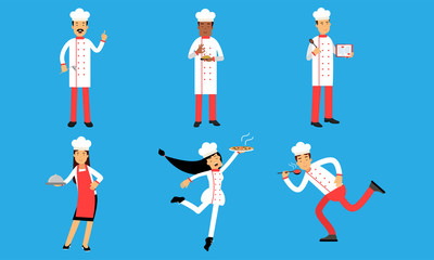 Cooking Characters Present Dishes At Their Brand Recipes. People Learn Menus Vector Illustration Set Isolated On Blue Background