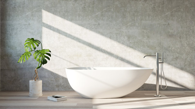 White  bath tub standing in a modern bathroom. 3d rendering mock up. Place for text