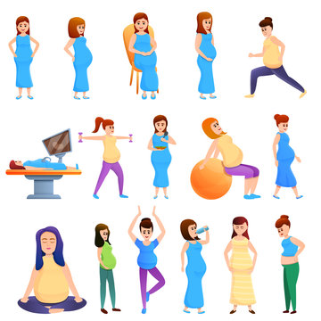 Pregnant icons set. Cartoon set of pregnant vector icons for web design