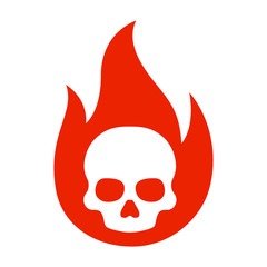 Simple flaming skull or skull on fire flat vector icon for games and websites