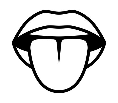Mouth sticking tongue out or lick line art vector icon for apps and websites