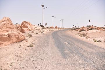 Fotobehang Route 66 Sand dunes in Sahara desert, Tunisia.