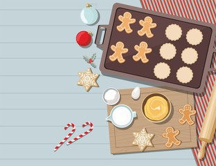 Cookies with ingredients for cooking christmas baking. Sugar, eggs and spices on kitchen table,top view.