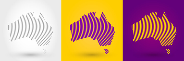 Striped map of Australia