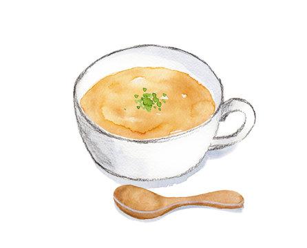 スープ 水彩イラスト