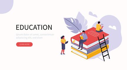 People Characters standing near Books Stack, holding Gadgets and Reading Literature. Group of Male and Female Students Study. Education and Knowledge Concept. Flat Isometric Vector Illustration.