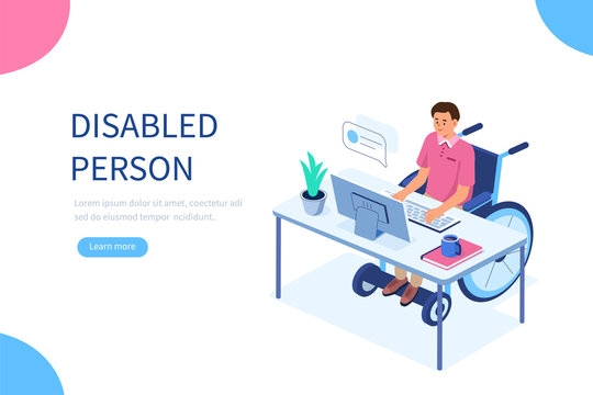 Disabled person in wheelchair working at computer desk in office. Handicapped man character at workplace. Disability concept. Flat isometric vector illustration.