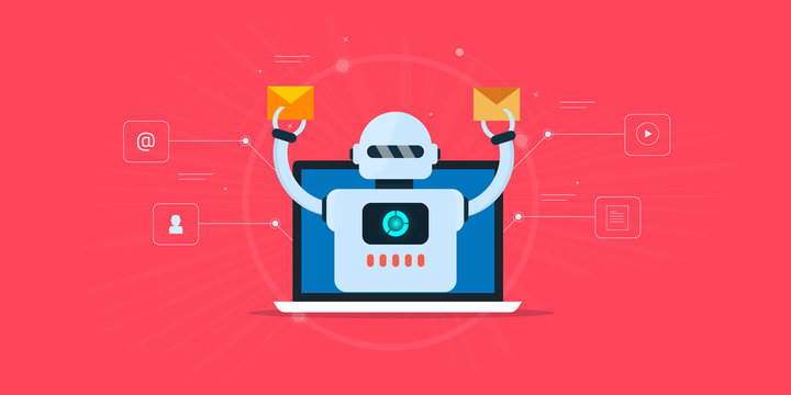 Marketing automation -email software - automated email marketing - robot - artificial intelligence concept. Flat design web banner.