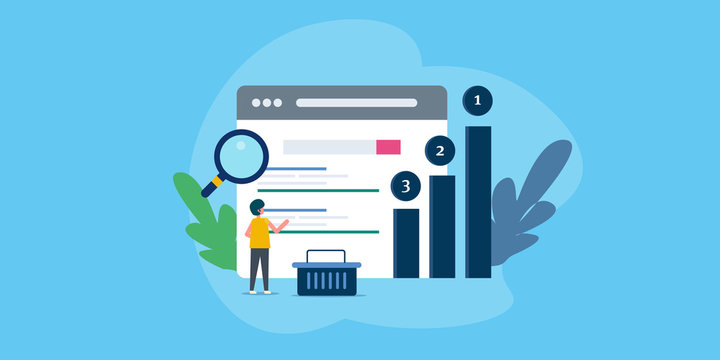 Search engine ranking, seo optimization for better search visibility, businessman analyzing website ranking. Flat design web banner.