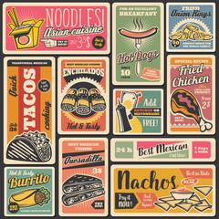 Fast food snacks, street food retro posters