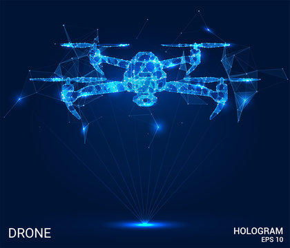 Hologram drone. A drone of polygons, triangles of points and lines. Shipping by air if the structure of the compound. The technology concept.