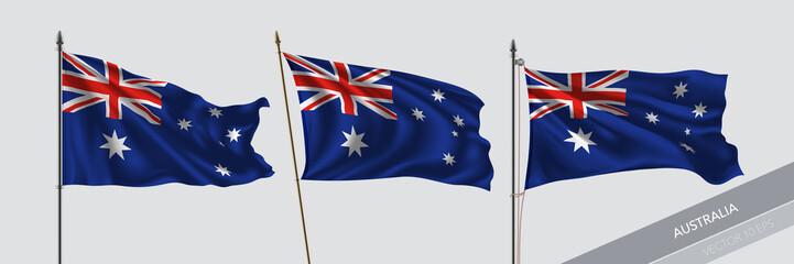 Set of Australia waving flag on isolated background vector illustration