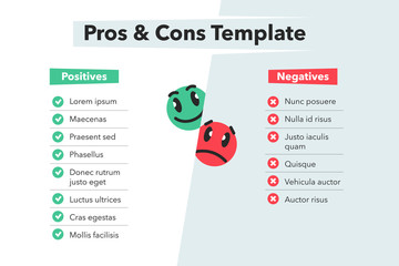 Simple infographic for pros and cons with funny emoji symbols isolated on light background. Easy to use for your website or presentation.