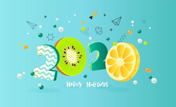Happy new year 2020 holiday background with 3d numbers 2020 in juicy colors. Vector illustration