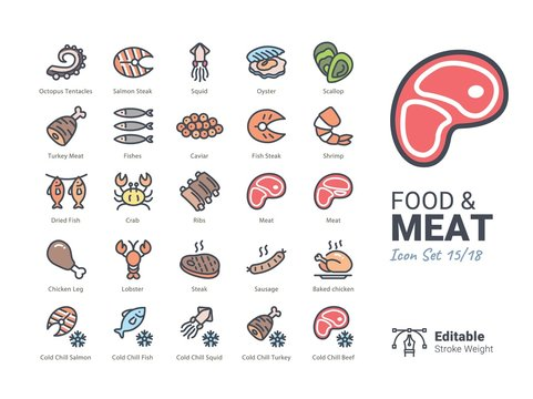 food and meat icon collection