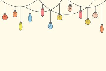 Festive background with light bulbs. Vector illustration in doodle style. Illustration for design Fototapete