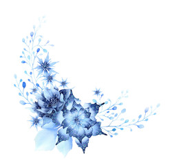 Fantasy winter composition of blue abstract stylized flowers, leaves, herbs and branches hand drawn in watercolor isolated on a white background. Winter watercolor illustration. Fantasy floral frame
