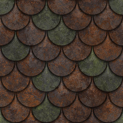 Seamless rusted metal texture of fish scales, 3d illustration