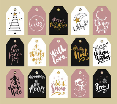 Beautiful Christmas tags collection. Modern scandinavian style. Good for Xmas gift card, badge, labels. Modern Christmas gift tags with hand drawing elements.