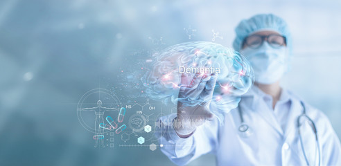 Abstract, Doctor checking and analysis alzheimer's disease and dementia of brain, testing result on virtual interface, innovative technology in science and medicine concept