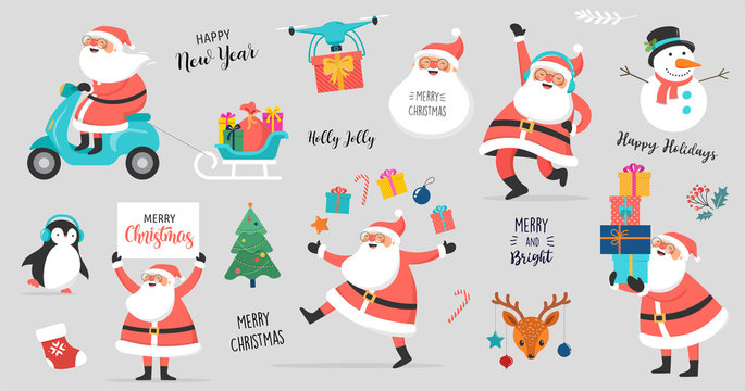 Collection of happy Santa Clauses, dancing, jumping, holding sign, driving on scooter. Vector illustration